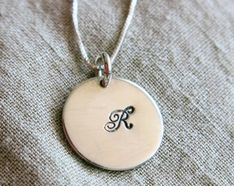 Charmed Silver Necklace, Initial Pendant, Disc Charm, Personalized Monogram, Handmade, Tag Charm, Silver Jewelry, Venexia Jewelry