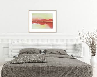 ORIGINAL abstract painting, minimalist landscape, red and yellow modern art watercolor wall decor, matted 16x20, minimalist watercolor