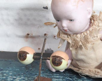 Vintage Weighted Brown Doll Eyes Metal & Acrylic Spooky Creepy Altered Art Assemblage Doll Makers