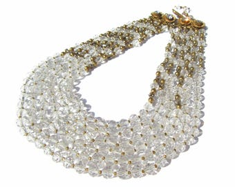 Rare Josef Morton Necklace Multi Strand Glass Beads and Rhinestones, Designed by Frank Hess, Miriam Haskell Top Designer, Vintage Jewelry