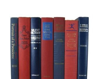 Farmhouse Decor, Vintage Books, Red White Blue, Home Decor,  Housewarming Gift, Gift for Book Lover