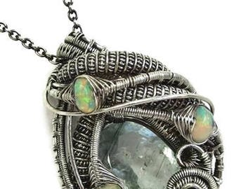 Natural Aquamarine Wire-Wrapped Pendant in Antiqued Sterling Silver with Ethiopian Welo Opals