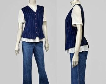 SALE - 90s Vest • Womens Suit Vest • Striped Vest • Navy Blue Vest • Pinstripe Vest • V Neck Vest • Button Up Vest • Sue Brett 1990s Vest