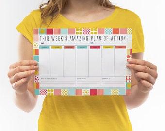Printable Weekly Organiser, Weekly Schedule, Productivity Planner, Personal Planner, Weekly Goal Planner, Work Planner