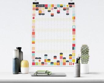 Large 2018 Wall Planner, 2018 Calendar, Office Calendar, Large Wall Calendar, 2018 Planner, Year Planner