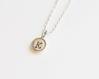 Initial, Stamped Initial, Monogram, Bezel Necklace, Gift for Friend, Mother, Daughter, Letter Necklace