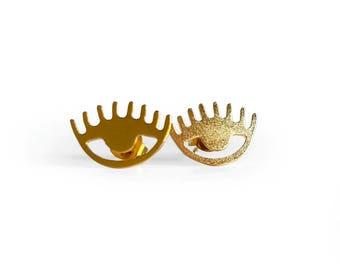 Evil Eye Stud Earrings, Gold Third Eye Stud Earrings, Gold Plated Boho Stud Earrings, Modern Stud Earrings, Minimal Studs, Gifts for her