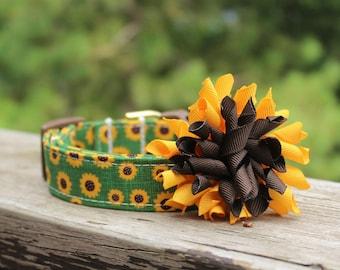 Sunflower Dog Collar, Fall Dog Collar, Dog Collar, Flower Dog Collar, Green Dog Collar, Dog Collar Bow, Fall Martingale, Yellow Dog Collar