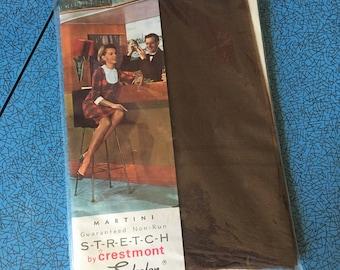 Unused Vintage 50s 60s 'Martini' Stockings, dark brown skintone