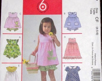 Easy Sewing Pattern McCall's 4757 Child's Pinafore Dress Pinny Top Bloomers Panties Handbag Little Girls Size 4 5 6 Chest 23 24 25 Uncut FF
