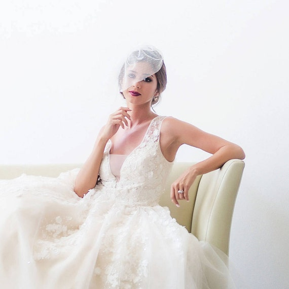 Polka dot Bridal Veil, Dotted Birdcage Veil, Polka Dot Veil, Blusher Veil, Polka Dot Birdcage Veil, Point d'Esprit, Swiss Dot EVE