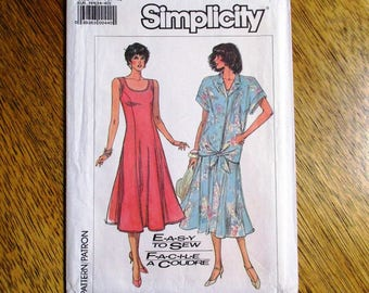 Vintage 1980s EASY to Sew Princess Seamed Sleeveless Dress / Fit and Flare Dress - Size (6 - 12) - UNCUT ff Sewing Pattern Simplicity 7892