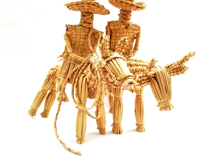 Vintage Woven Raffia Caballero Figures on Horse and Bull