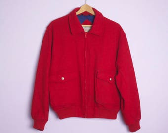 Vintage 1980's Gordon and Ferguson Northbilt Red Wool Bomber Jacket L