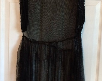 Vintage 1920s Black Flapper Dress / Gown - Sequins and Lace - Lace Netting - Needs Repair - Great Gatsby Costume