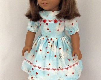 Valentine dress for American Girl dolls and similar 18 inch dolls