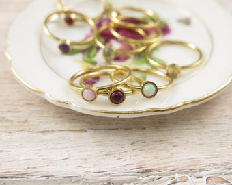 Crystal Rings - Healing Jewelry - Small Gold Rings - Crystal Jewelry - Stainless Steal - Amethyst Rings - Small Gemstone Ring - Gold