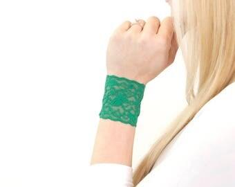 Lace Bracelet, Lace Wrist Cuff Bracelet, St Patricks Day Green Bracelet Breastfeeding, Wrist Band Wrist Tattoo Cover Bracelet Scar Covers