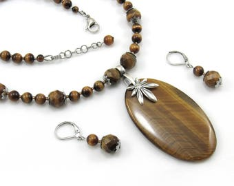 Women's Handmade Beaded Jewelry, Tigereye Gemstone Necklace and Earrings Set, Brown, Tigereye Stone Focal, Leaf Bail