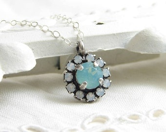 Swarovski Flower Necklace ~ Pacific Opal Necklace ~ White Daisy Charm ~ Crystal Flower Necklace ~ Bridesmaid Gift ~ Gift for Her