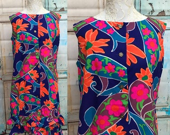 60s Hawaii Sun Fashions Psychedelic SunDress