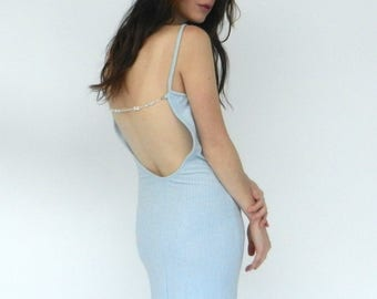 Vintage Jessica McClintock for Gunne Sax   Blue Backless Dress   1990s