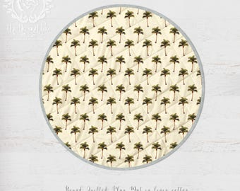 Palm Trees Island Boho Round Baby Play Mat. Organic Cotton or Linen. Vintage Style Print | Ships in 4-6 weeks