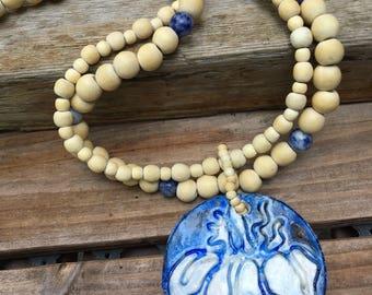 Blue White Boho Necklace Iris Flower Necklace Wood ,Sodalite ,Polymer Pendant LONG Necklace, Yoga Necklace