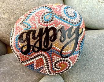 gypsy/painted stones/painted rocks/paperweights/boho art/ hippie art/desk art/ words on rocks/ words on stones/ rock art/ sea stones/ rocks