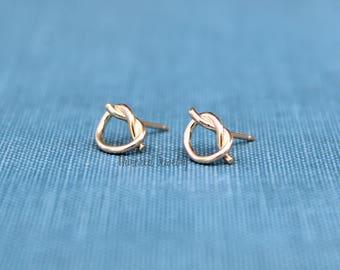 Knot Earring Studs, Gold Knot Earring Studs, Rose Gold Earrings, Gold Ear Studs, Ear Jacket, Ear Jacket Earrings