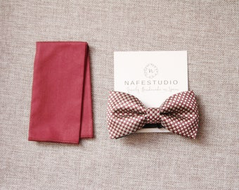 Men's Bow Tie Pre-tied Bow Tie For Men - Check Bow Tie Dark Red Bow Tie - Mens Gift Wedding Gifts Mens Bow Tie Wedding For Groom For Him