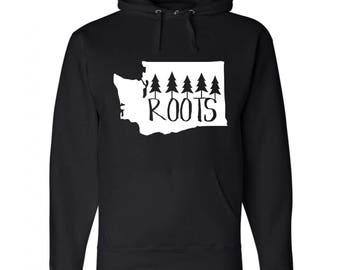 "Washington State ""Roots"" {Unisex Black Hoodie} S-XXXL"