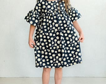 Girls bell sleeve boho black daisy dress, party summer cotton dress, sizes 18 m to 12 years
