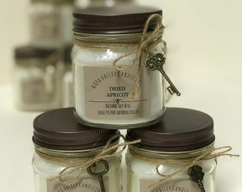 Handmade Natural Soy Wax Mason Jar Candle Dried Apricot Scented