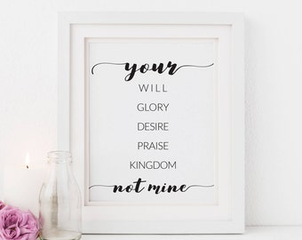 Your Will Not Mine, Modern Nursery Art Scripture, Illustrated Faith Art, Scripture Print for Her Bible Journaling, Lady Boss Quote,  Digital