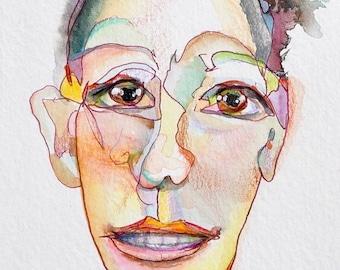 Blind contour portrait drawing. The best gift for:anniversary,birthday,shower,graduation,housewarming,retirement, wedding, friendships, BFF