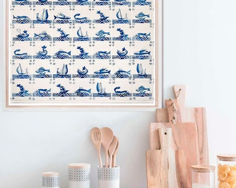 Nautical ships and fishes pictures, dutch tiles, kitchen decor, blue wall art poster, nautical wall decor, 11x14, 16x20, 20x24 print