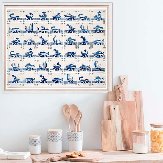 Nautical Kitchen Wall Decor : Kitchen blue wall art poster nautical decor