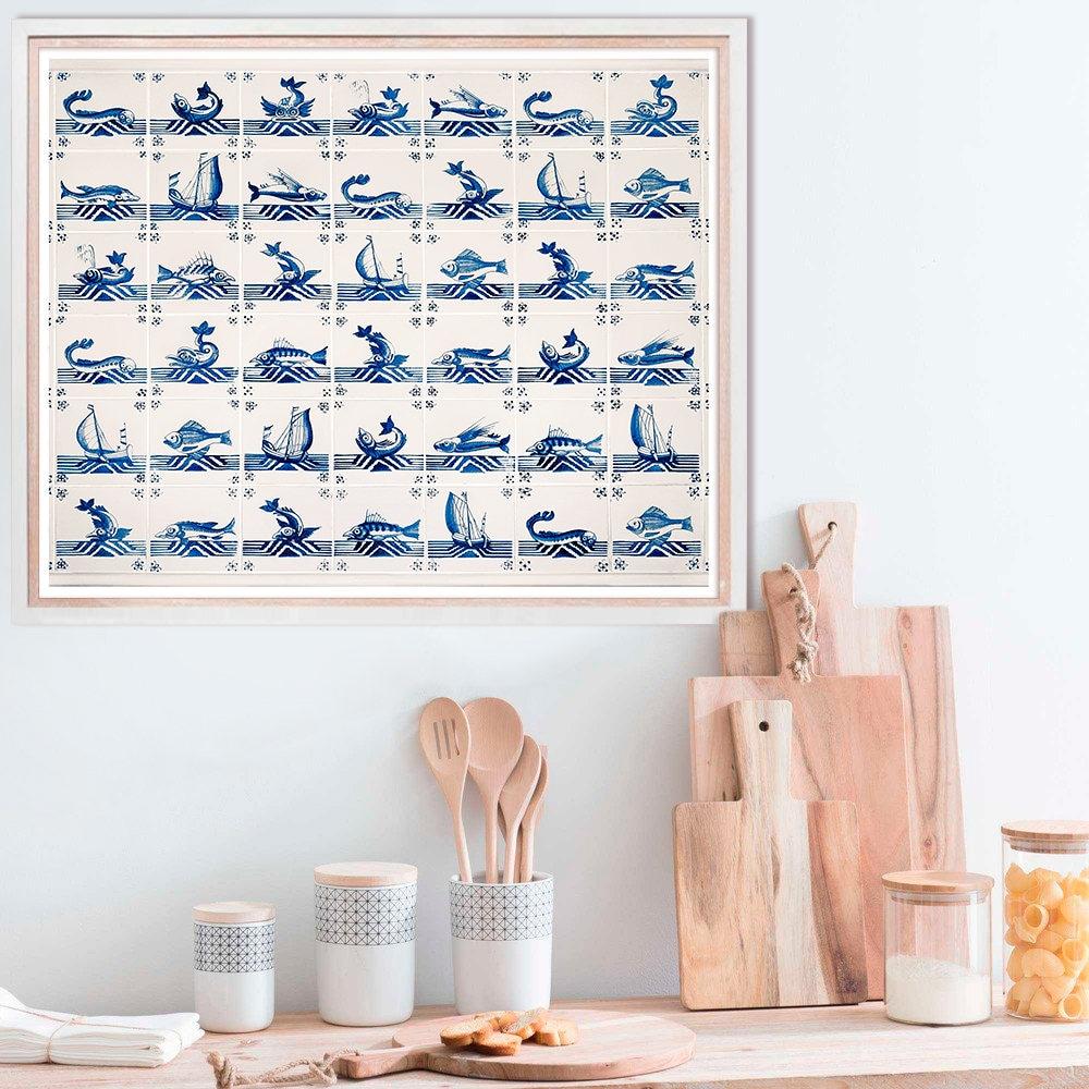 Kitchen blue wall art poster nautical kitchen wall decor for Blue wall art