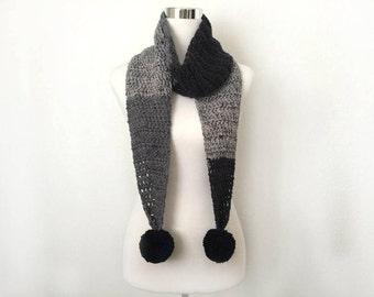 black pepper crochet pom pom scarf