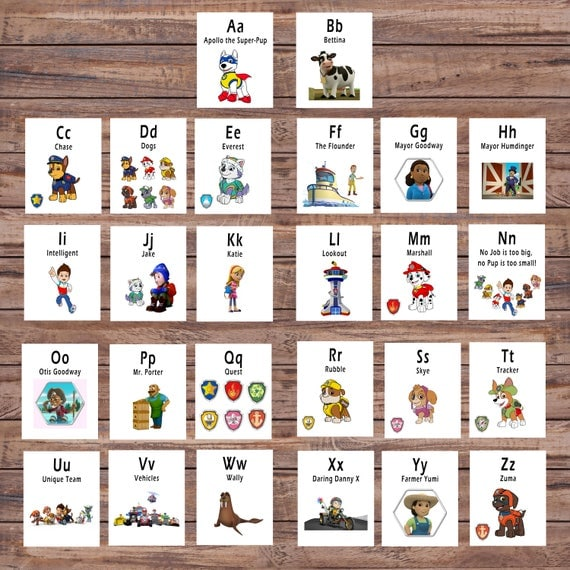 Paw Patrol, ABC Printable Flash Card, Printable Cards, Alphabet Card, Preschool, Educational Toy, Instant Download, Instant Digital Download