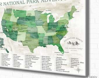 National park map Etsy
