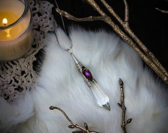 Galadriel • Enchanting ethereal French crystal cut prism with an iridescent crystal bead necklace