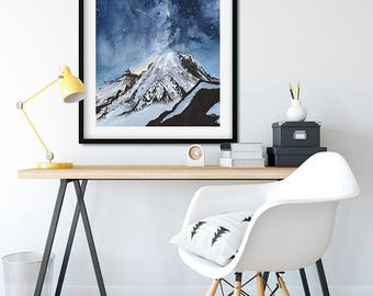 Mt. Rainier Watercolor Painting Giclee Print - FREE SHIPPING