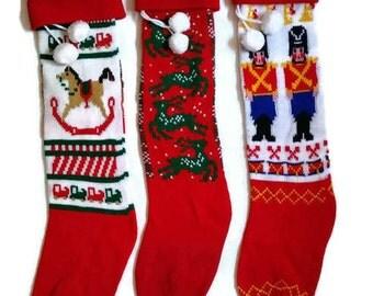 Vintage knit Christmas Stocking, 1970s Christmas Stockings, rocking horse stocking, reindeer Christmas Stocking, Soldier Christmas Stocking