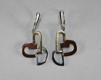 Taxco Silver Mixed Metal Earrings by Erika Hult de Corral