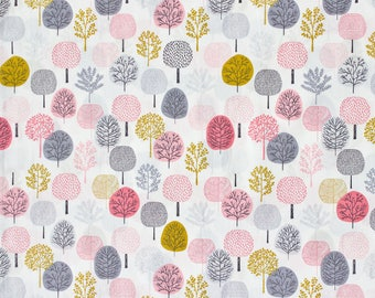 "FISRT LIGHT fabric by Eloise Renouf - Forest in Pink - Cloud 9 Fabric - Organic cotton - Half metre (19.5"")"