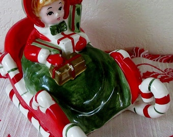 Vintage 1950s Mid Century  Lefton Shopper Christmas Girl Riding in Candy Cane Sleigh With Packages MUSIC BOX