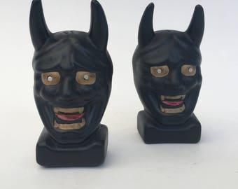 1960s Black Devil Head Salt and Pepper Shakers