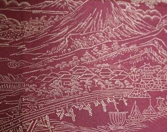 Silk Kimono Fabric Swatches Fuschia with Mount Fuji x 2 pieces